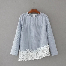Buy 2017 women elegant hem lace crochet patchwork striped shirt blouse work wear o neck slim pullover casual brand blusas LS1070 for $9.79 in AliExpress store