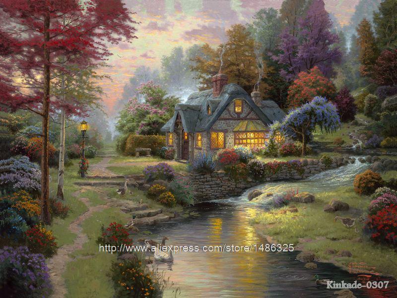 Thomas kinkade oil painting prints stillwater cottage Home interiors thomas kinkade prints