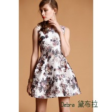 free shipping new arrival top quailty fine vintage European and American brands Plum Ink Print sexy fashion Dress