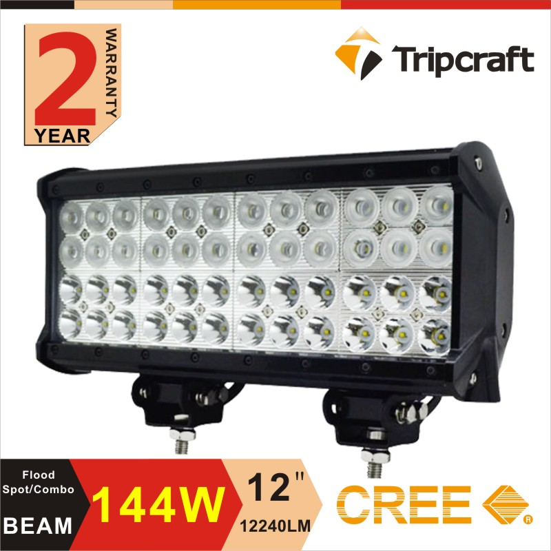 12 inch led front lamps Guagzhou professional factory led offroad light bar 144W 4 row led light bar for offroad truck suv atv(China (Mainland))