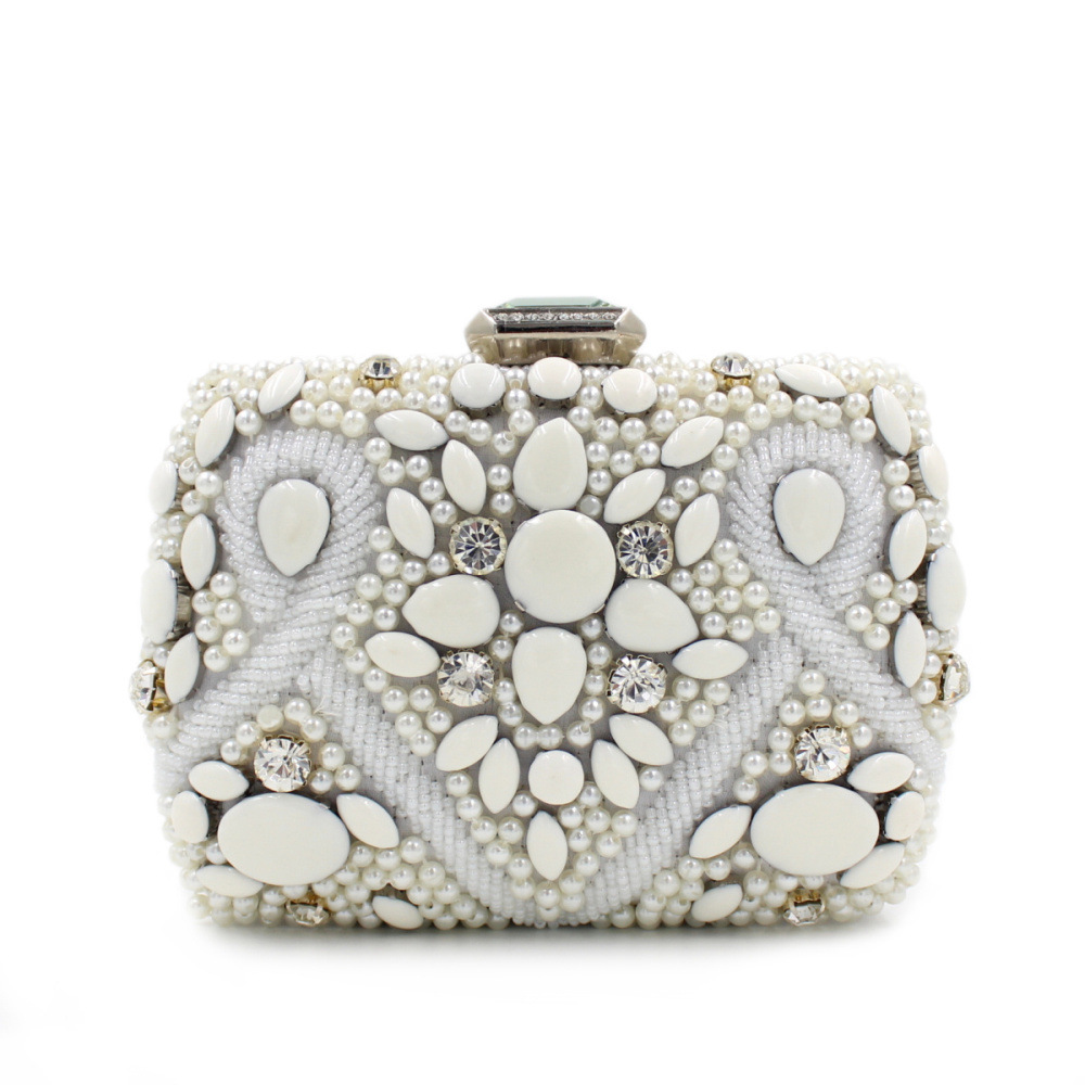 2016 New Europe Style Hand-Beaded Evening Bag Nice Diamond Gemstone Beaded White Pearl Clutch Bag Shoulder Handbag For Party(China (Mainland))