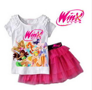 Winx Club 2016 New Girls Clothing Set T Shirt + Skirt Suits Cartoon Kids Set Children's Clothes Kids Suits 2Pcs/set Fille(China (Mainland))