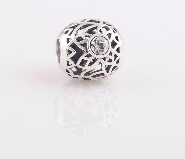 Аутентичные стерлингового серебра 925 бусины выдалбливают шарм с кристалл ювелирных изделий DIY подходит для Chamilia европейский браслет бесплатная доставка