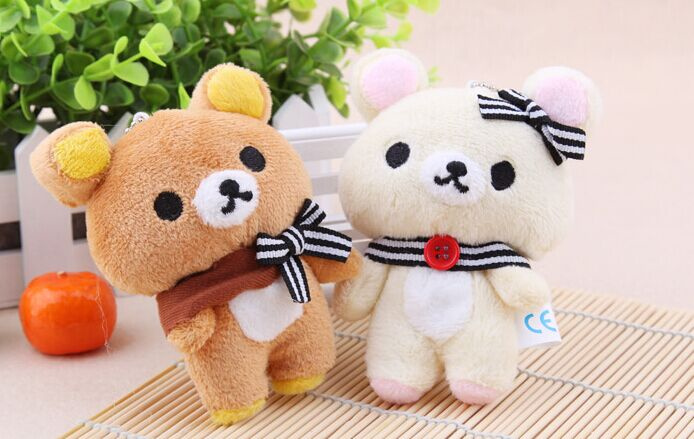 1Pair Kawaii Standing 11CM Lover Rilakkuma Bear Plush Stuffed TOY , Soft Bear Figure DOLL , Key Chain BAG Pendant Charm TOY(China (Mainland))