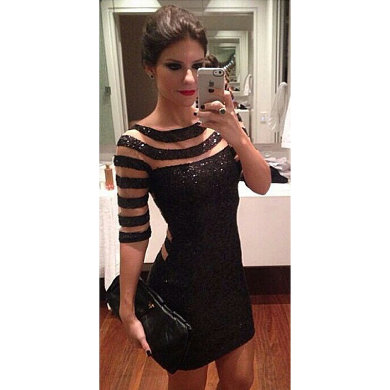 2015 Women Sexy Black Party Dress Stripe Paillette Slim Prom vestido de festa curto Dresses Party Prom Gowns 289(China (Mainland))