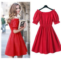 100% cotton New 2016 Autumn summer Women Dress short Sleeve Casual plus size Dresses Vestidos WC380-1(China (Mainland))