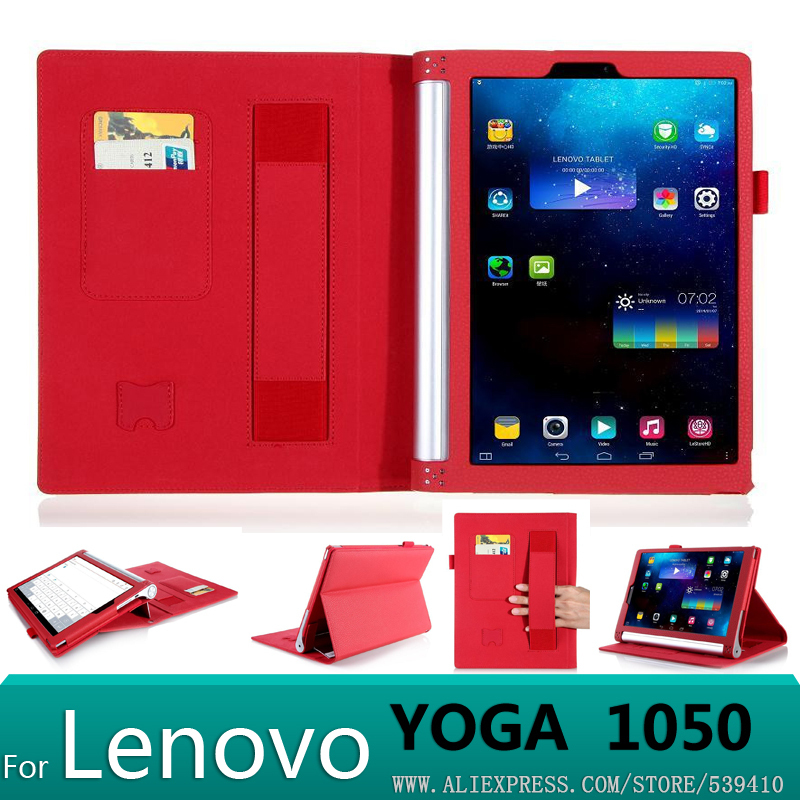 Luxury PU leather Cover case lenovo yoga tablet 2 10 1050 1050f 1051L 1051 10.1 tablet cover case + Screen protector+stylus