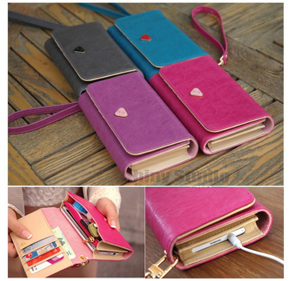 Lady Girl PU Leather Zipper Handbag Wallet Clutch Purse Evening Bag Phone Case Capa Cover for Apple iPhone 3GS 3 3G(China (Mainland))