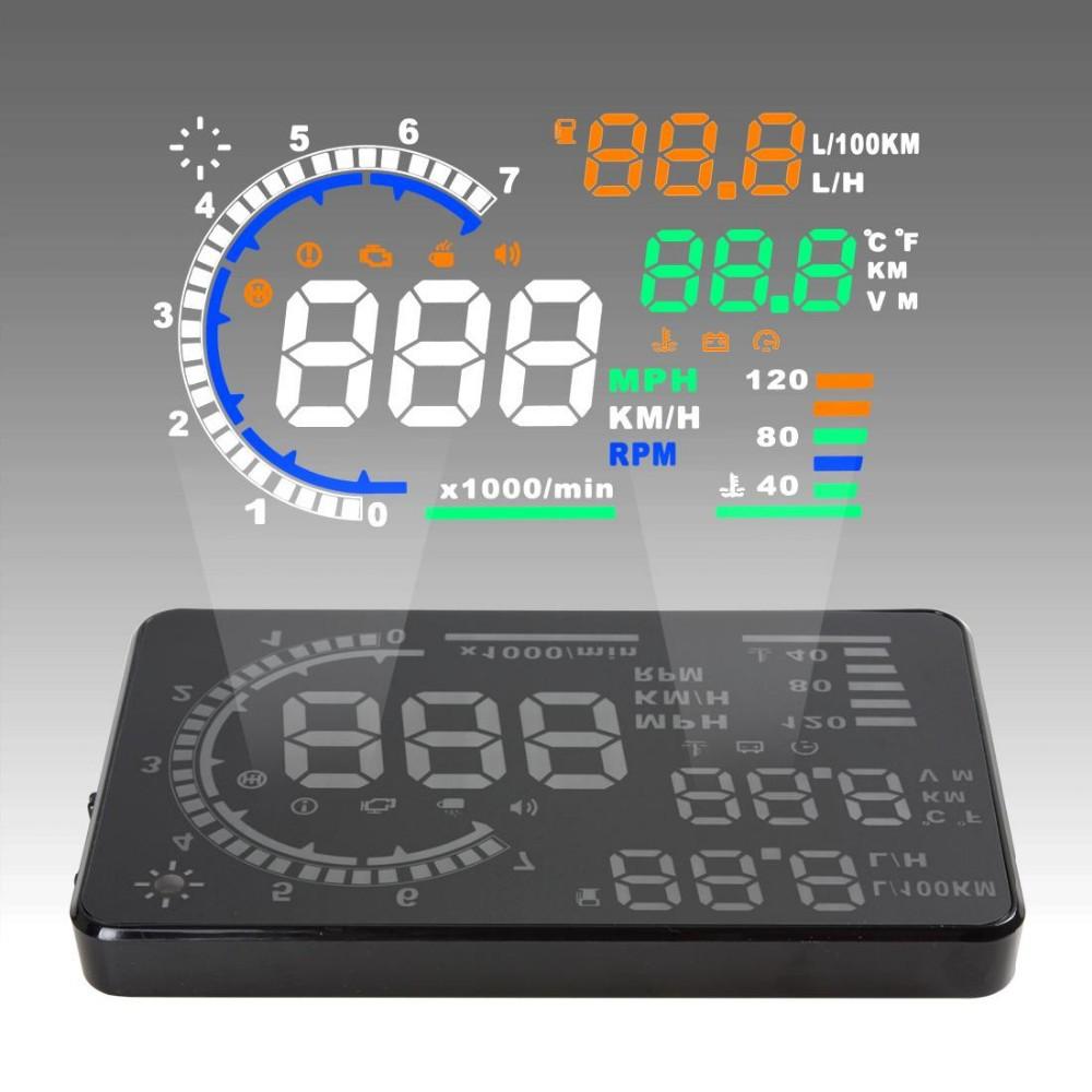 "Hot saling! 5.5"" Large Screen Car HUD Head Up Display with OBD2 Interface Plug & Play A8 Car HUD Display"