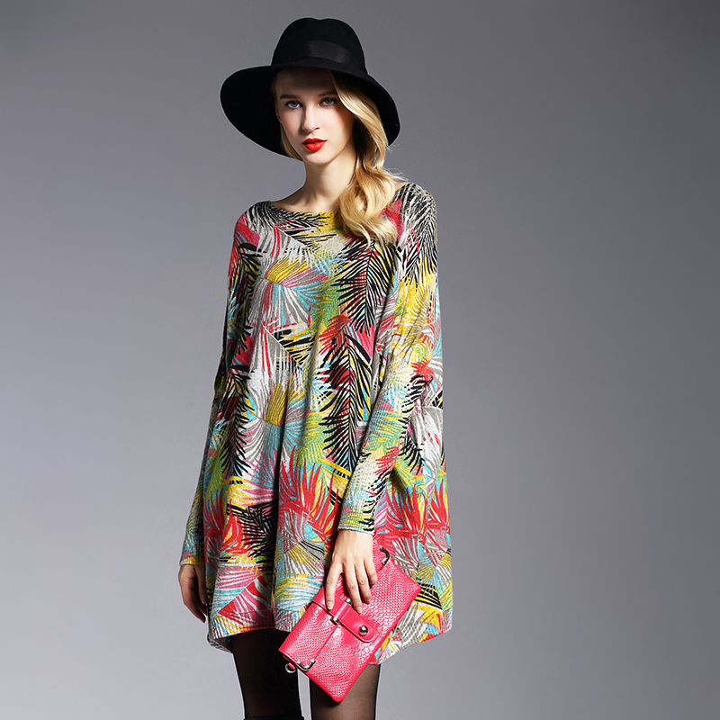 XIKOI New High Quality Women's Sweaters Fashion Batwing Sleeve Print Slash Neck Pullovers Computer Knitted Women Sweater 623(China (Mainland))