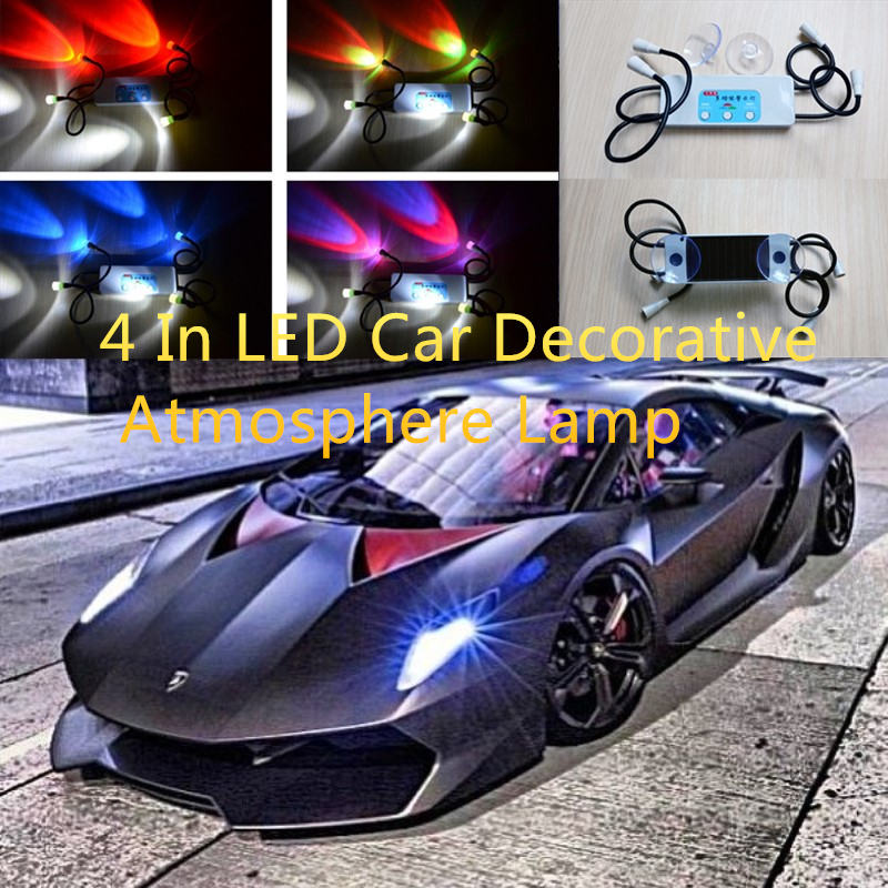 4 In LED Car Decorative Atmosphere Lamp Charge LED Interior Floor Decoration Light Car Reading Light Mood Light Anti-Theft Lamp