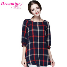2016 Fashion New summer font b plaid b font Shirt Women Tops Half Sleeve Cotton Blouse