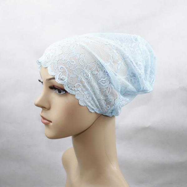 Muslim Lace Elastic Underscarf Caps, Islamic Hijab Inner Cap, Undercap, Mesh Primer Cap, multicolor (black,blue, white, pink)(China (Mainland))