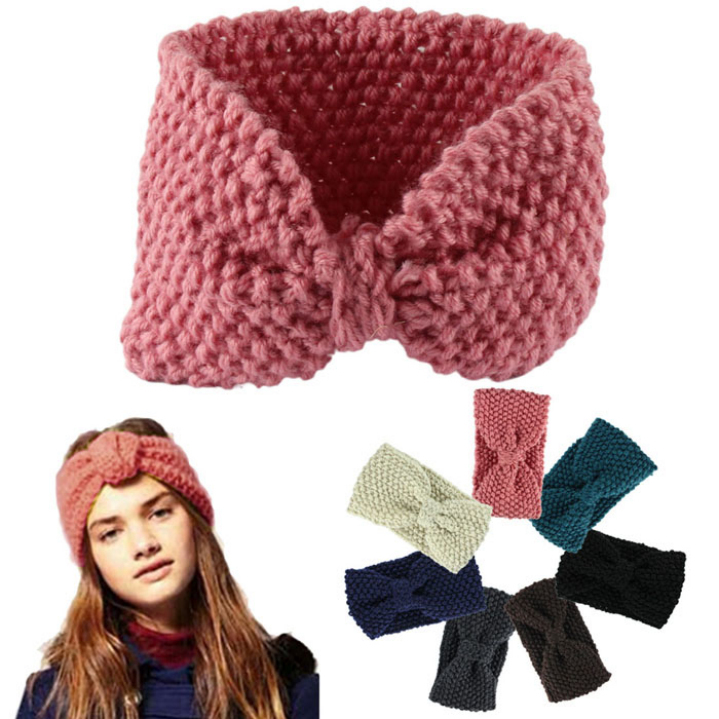 Amazing Hair accessories Winter Crochet Flower Bow Knitted Head wrap Headband Ear Warmer(China (Mainland))