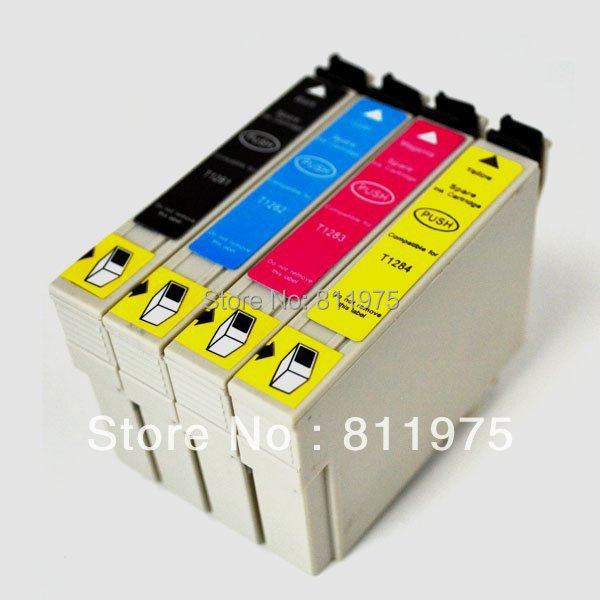4pcs  Free shipping For epson T1281 T1282 T1283 T1284 compatible ink cartridge For EPSON Stylus SX125 S22 SX40W SX425W BX305FW