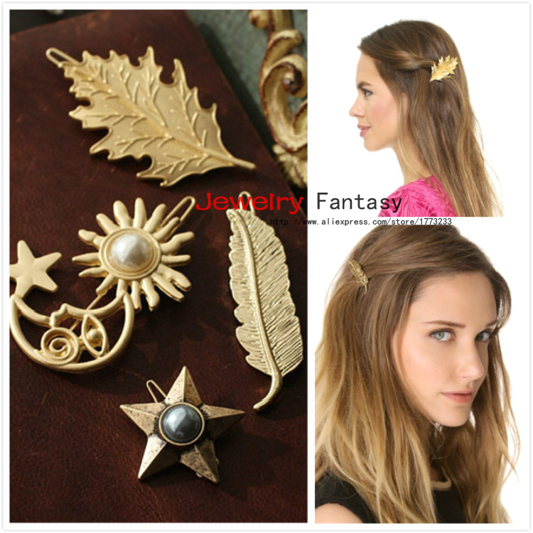 2015 Retro Gold Leaves Stars Feathers Hair Pins and Clips Head Jewelry for Girl Women(China (Mainland))