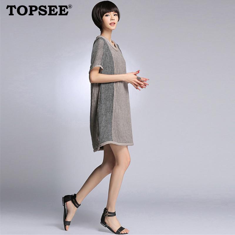 New 2015 Fashion Summer Loose Style Patchwork Brief Linen Silk Women Dress Korean Slim Clothing