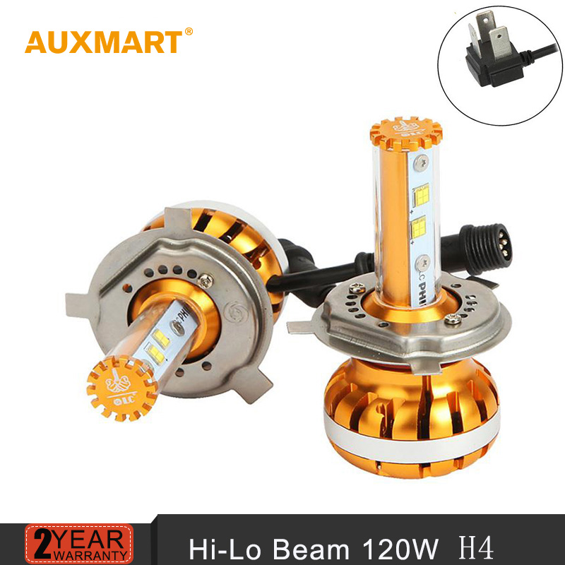 Auxmart Golden H4 120W Led Car Headlight Bulbs 6000K Hi-Lo beam DRL Fog Headlamp Head Light Source 12V 24V 4x4 4WD SUV ATV Light(China (Mainland))