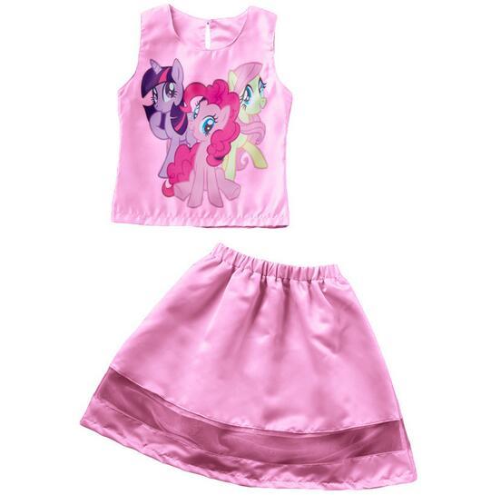 2PCS/0-7Years/2016 Summer Baby Girls Suit Children Clothing Sets Cartoon Cute Sleeveless T-shirt+Skirt Brand Kids Clothes BC1422(China (Mainland))
