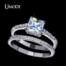 UMODE Brand Engagement Ring Set Two Band 1.6 Carat Princess Cut Zirconia Crystal Wedding Rings for Women Hot Anillos Anel UR0139(China (Mainland))
