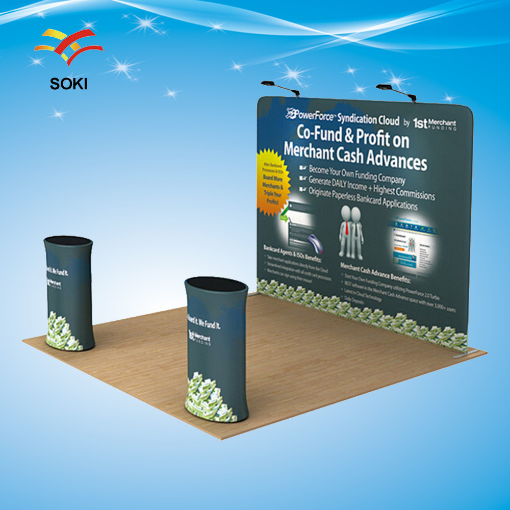 10ft straight Tension Fabric Display Trade Show Exhibition Booth System Stand Design with Printing Cost by UPS Shipping(China (Mainland))