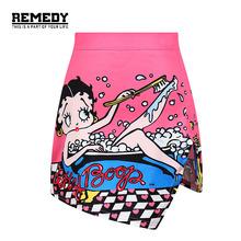 2016 Summer Fashion Women High Waist Bodycon Skirts Cartoon Girls Mini Short Skirt Pink shorts For women clothing saiasfemininas