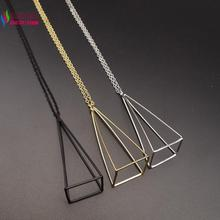 2016 New arrival Fashion Gold/Silver/Black Cube Triangle False Collar Women's 3D Necklaces & Pendants accessories collar bijoux(China (Mainland))