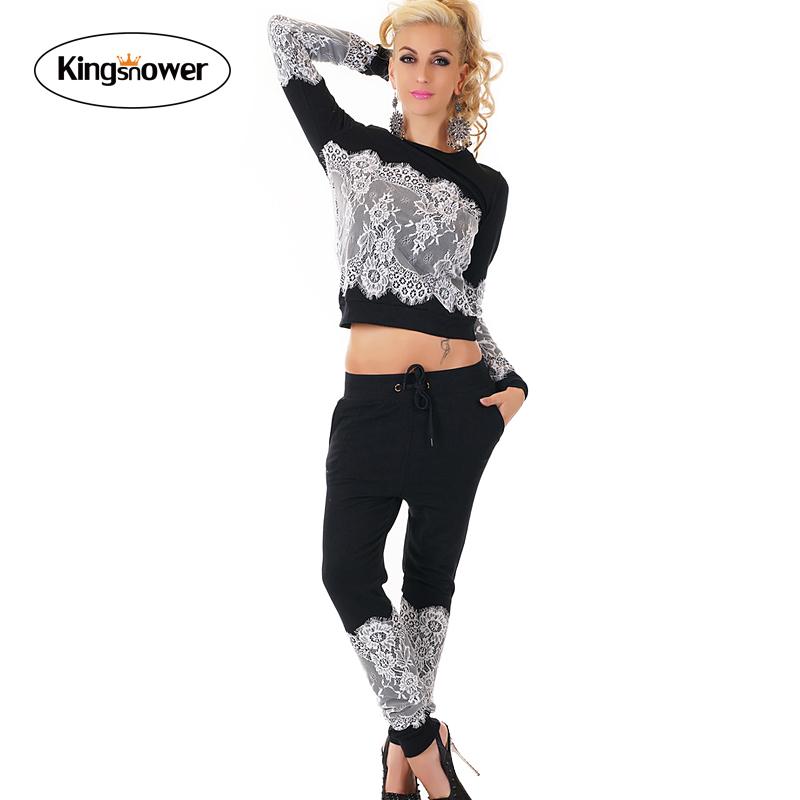 2016 Fashion Women Sportswear Lace Printed Fall Tracksuits Long-sleeve Casual Sport Costumes Mujer 2 Piece Set Shirts JA4003(China (Mainland))