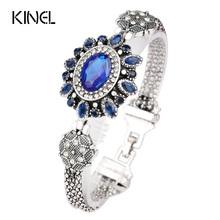 Turkey Jewelry Wholesale Latest Design Bohemian Retro Silver Resin Crystal Bracelet Bracelet For Women(China (Mainland))