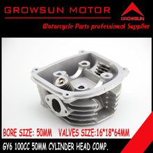 Free Shipping GY6 Scooter 100cc 64mm Valve Cylinder Head with Valves Installed for 139QMA/139QMB Engine @50009