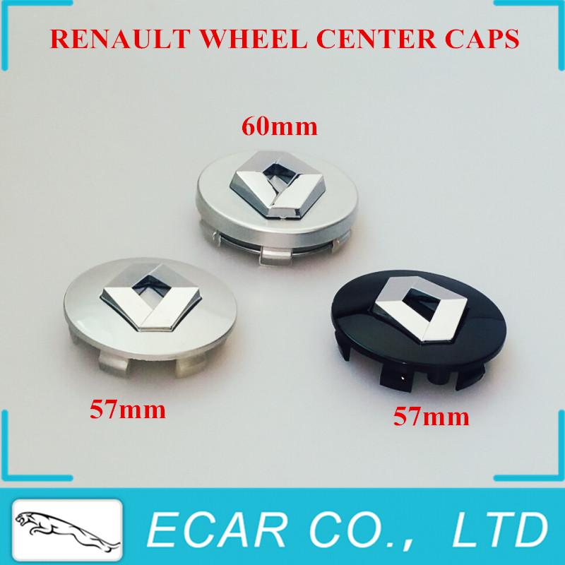 Car Styling 4x Renault 57mm 60mm Silver Black Wheel Center Hub Caps Renault Wheel Emblem For Clio Megane Laguna Scenic TwinGo(China (Mainland))