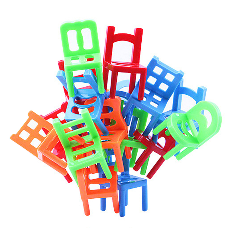 Newest 18pcs colorful Plastic Balance Stacking mini Chairs Toy for Kids coordinates observance training Play Desk Game 5*3*3CM(China (Mainland))