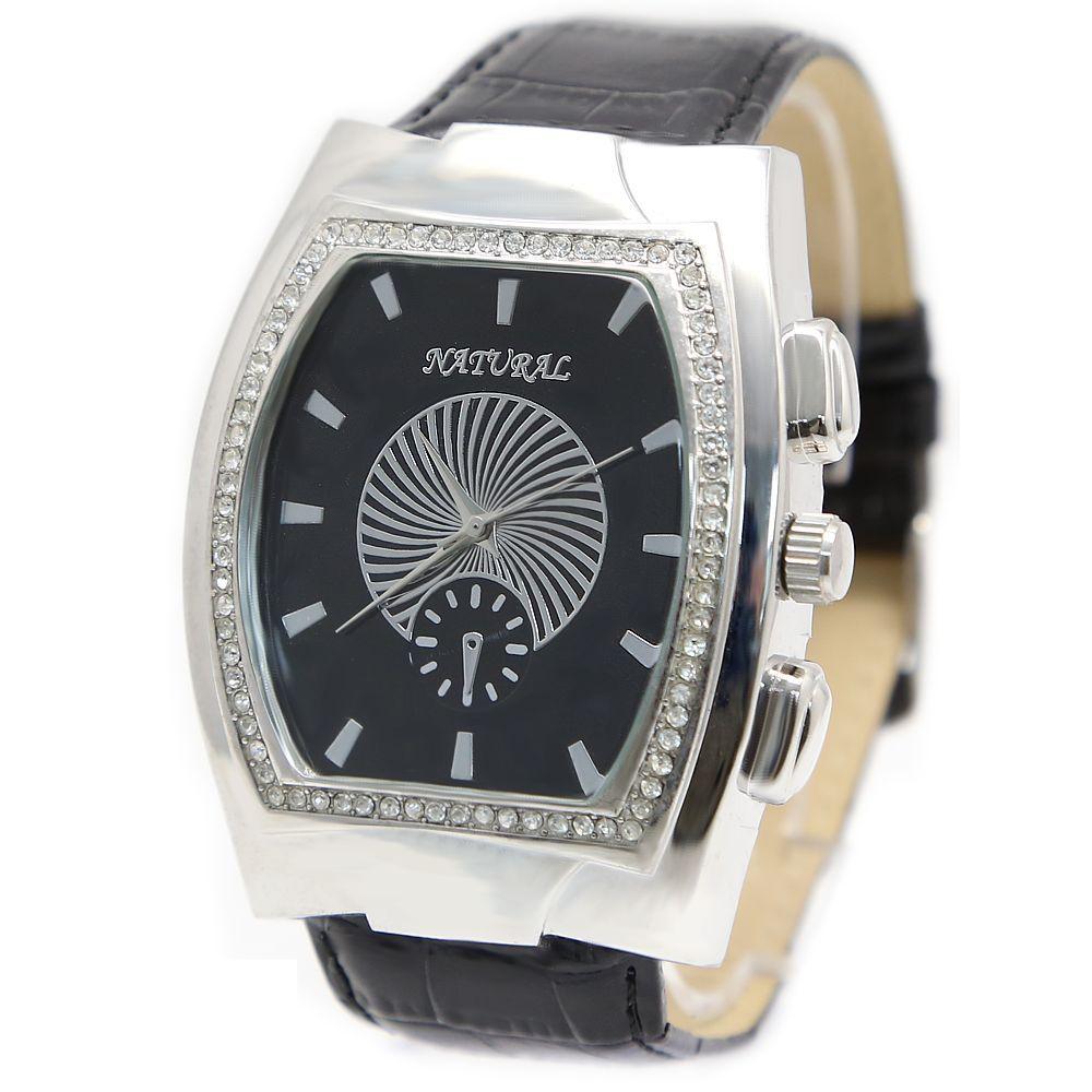 Trendy Big Case Black Band Free Shipping NATURAL Rectangular PNP Shiny Silver Watchcase Ladies Women Fashion Watch FW296D(China (Mainland))
