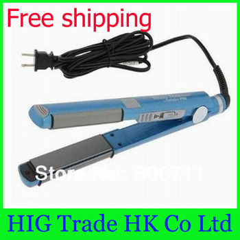 "Wholesale 3pcs Blue PRO Nano Titanium Ceramic Hair Straightening Flat iron U Styler 1"" Drop shipping #U63"