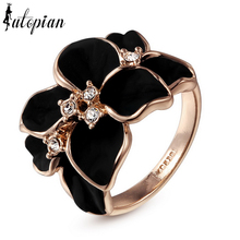Iutopian Italina Flower Ring Anel Aneis For Women With Austrian Crystal Stellux Utopia #RG95676(China (Mainland))