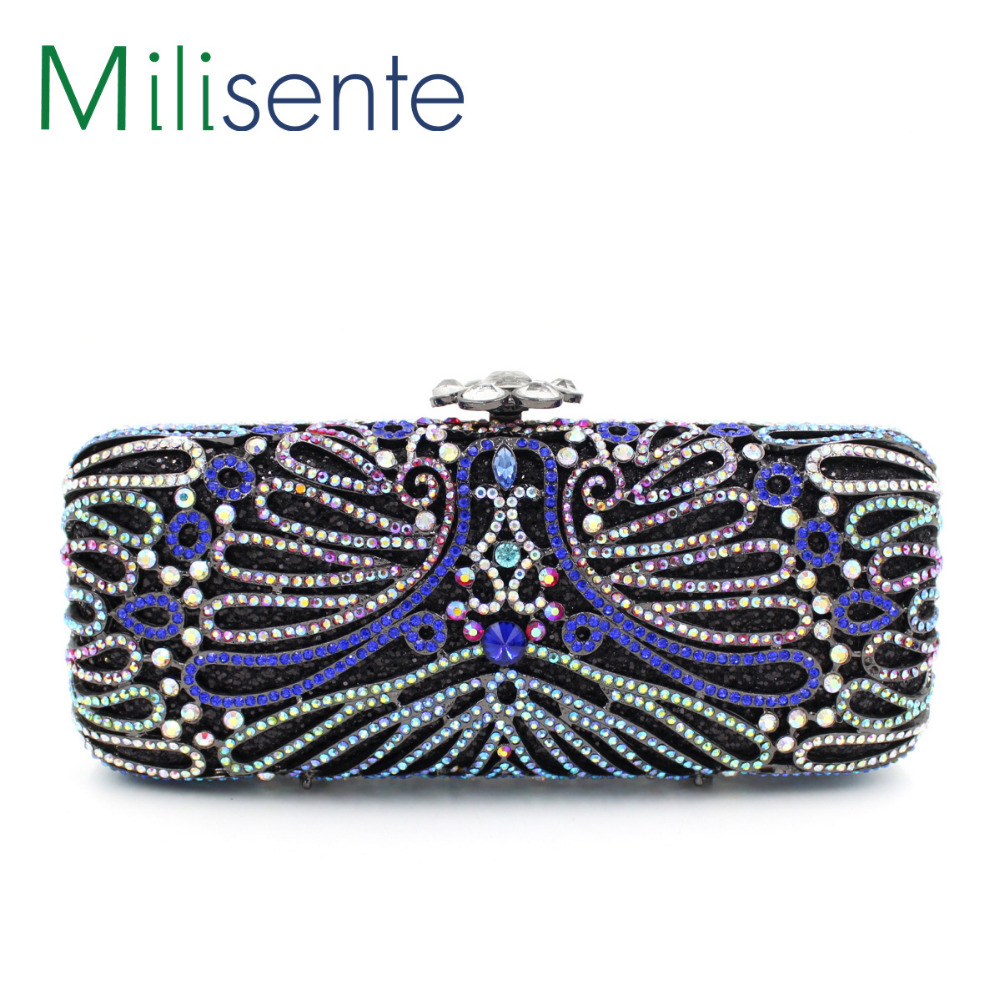 Milisente New Wholesale  High Quality  Crystal Clutch Bag With Coloured Diamond For Party<br><br>Aliexpress