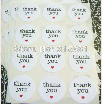 """thank you circle stickers 1.5"""" white paper, envelope seals, stickers"""