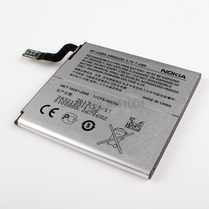 100 Original Replacement Battery For Nokia BP 4GWA BP4GWA lumia 720 720t 625 625h 2000mAh