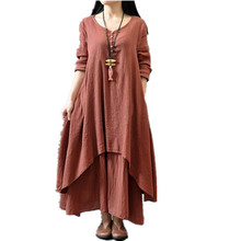Fashion women dress Autumn Women Casual Loose Long Sleeve Dress Cotton Linen Solid color Long Dress Vestidos Plus Size S-5XL(China (Mainland))