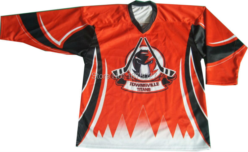 Sublimation printing quick dry fabric V-neck ice hockey uniforms(China (Mainland))