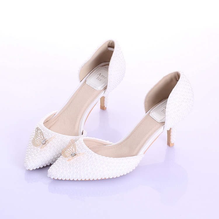 2015 new fashion wedding shoes white pearls pointed toe for Gold dress shoes for wedding