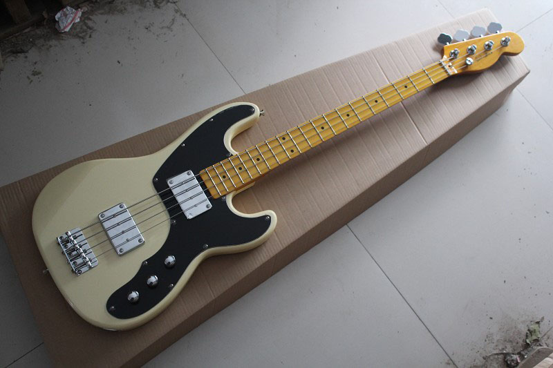 Free shipping Hot Selling Guitar Maple Fingerboard F Tele telecaster Bass Beige 4 Strings Electric Guitar .(China (Mainland))