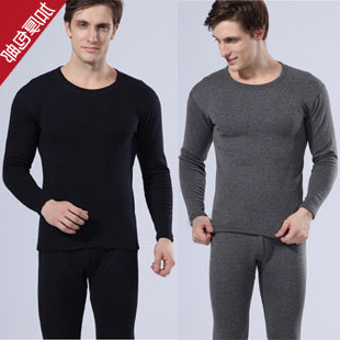 Autumn winter thermal underwear male set plus velvet thickening men's o-neck solid color