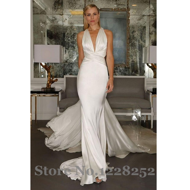 Buy backless ivory mermaid wedding for Backless satin wedding dress