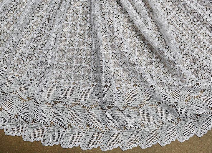 Топ белый серебро африканских гипюра кружева ткань для шитья шнуром африканская ткань шнурка растворимые в воде кружева для свадебного 9034