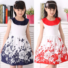Teen Clothing Teenage Kids Red Flower Girl  Dresses Summer Sleeveless Peter Pan Collar Clothes for Age11 12 13 14 Years