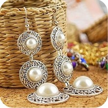 19g Vintage National Trend simulated Pearl Earrings Bohemia Style Circle Long Dangle Drop Earrings Brincos (China (Mainland))