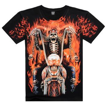 3D череп рок футболка лето авангард печать рисунок футболка мужской мода популярные пламя душа войны колесниц кирпичных 3D череп рок футболка