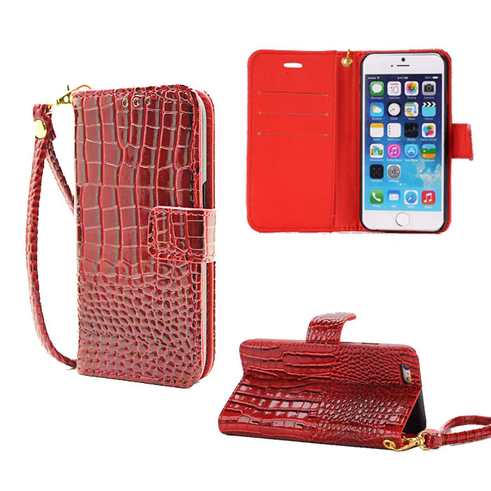 Hand Strap Wallet Case For iphone 5 5S Flip Cover Luxury Crocodile Grain Leather Pouch Case For IPhone5S Phone Bag(China (Mainland))