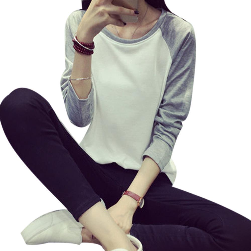 2015 Korean Style New Women T Shirt Sweatshirt Raglan Loose Full Sleeve Moleton Feminino Plus Size M-XXL 4 Colors